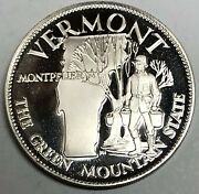 C3683 Franklin Mint Sterling Silver Medal State Of Vermont