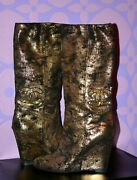 Sexy Gold Metallic Bootie Huge Beaded Cc Logo Wedge Ankle Boots 39.5 Wow