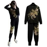 Women 2pcs Suit Phoenix Embroidery Beading Knitted Sweater Casual Harem Pants L