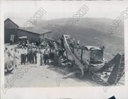 1933 Bethesda Ohio Farmers At Bombed Thrashing Machine By Mobsters Press Photo
