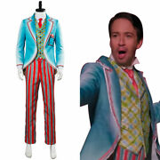 2018 Mary Poppins Returns Jack Royal Doulton Bowl Cosplay Costume Coat Cyan Suit