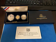 1994 World Cup Usa 3 Coin Gold And Silver Commemorative Set -proof Ogp