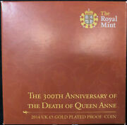 2014 Gold-plated Silver 5 Pound Proof Coin 300th Anniversary Of The Death Of Que