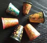 Vintage Wooden Thimbles Set Of 6 Sewing Wooden Tools Handpainted Kashmir India