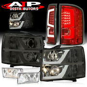 Projector Smoke Head Lights Red Clear Tail Lamps + Fogs For 2007-2013 Silverado