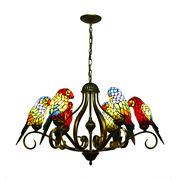 Parrot Chandelier Stained Glass Hanging Pendant Large Ceiling Light Lamp
