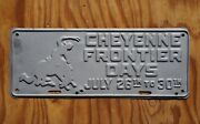 Vintage Wyoming Rodeo Cowboy Horse Cheyenne Frontier Days License Plate