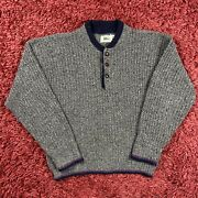 Vintage Rei Marled Knitted Color Speckled Trim Wooden Button Henley Sweater