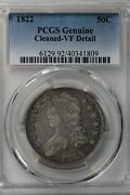 1822 50c Pcgs Genuine Cleaned - Vf Detail  Capped Bust Half Dollar