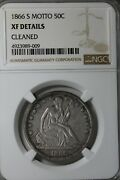 1866 S Motto 50c Ngc Xf Details, Cleaned   Liberty Seated Half Dollar