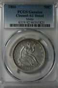 1866 50c Pcgs Genuine Cleaned, Au Detail Motto   Liberty Seated Half Dollar