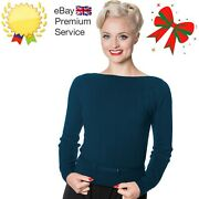 Womenand039s Teal Retro Vintage Boat Neck Violetta Knitted Top Jumper Banned Apparel