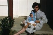 Kodak Slide 1950s Red Border Kodachrome Mother And Baby Boy On Stairs Of House