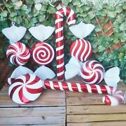 Giant Red And White Glitter Candy Cane Or Sweet Christmas Tree Display Decorations