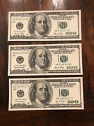 100 Dollar Bill 2006a 3 Fancy Serial Number/uncirculated/sequential Sn/3 Pair