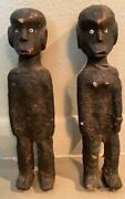 Rare Pair Old East African Tanzanian Encrusted Dolls Male And Female
