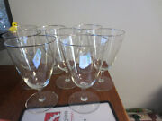 8 Gorgeous Vintage Platinium Edge 12 Oz Etched Crystal Water Or Wine Glasses
