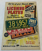 1953 Wheaties License Plates Premiums Ad Page Version 2 Louisiana, New Mexico