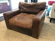 Restoration Hardware Maxwell 3300 Brown Leather Oversized Chair Large