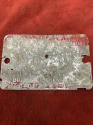 1958 Cadillac 2 Door Hardtop Body By Fisher Cowl Tag Data Code Plate Original Og