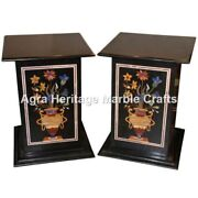 24x15 Black Marble Pair Of Stand Base Marquetry Beautiful Inlay Decor E558a