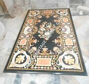 5and039x3and039 Black Marble Dining Elegant Table Top Marquetry Inlay Handmade Decor H3463