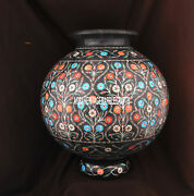 10and039and039 Black Marble Flower Pot Inlay Pietra Dura Stone Stunning Gifts Decor H3749