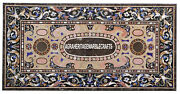 Brown Marble Dining Table Top Pietradure Arts Gems Inlay Living Home Decor H3358
