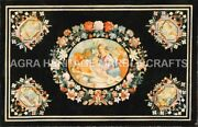 4and039x3and039 Black Marble Dining Table Top Marquetry Floral Inlay Furniture Decor H5087