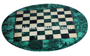 Marble Round Coffee Chess Table Top Malachite Marquetry Inlay Home Decor H2046