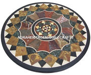 Black Marble Coffee Table Top Real Marquetry Stone Mosaic Living Art Decor H2447