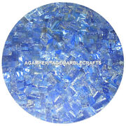 Exclusive Marble Dining Table Top Lapis Lazuli Mosaic Inlay Outdoor Decor H2042