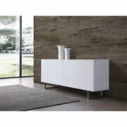 Wally Buffet 5mm Pure Tempered White Glass Top High Gloss White