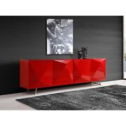 Samantha Buffet High Gloss Red, Design On Doors And Metal Legs With Brushed N...