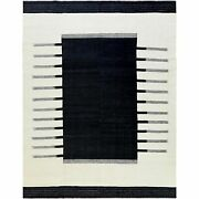9and0394x11and0399 Hand Woven Avant-garde Design Flat Weave Kilim Pure Wool Rug R60074