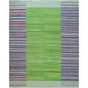 12and0393x15and0391 Flat Weave Kilim Stripe Design Wool Hand Woven Reversible Rug R60098