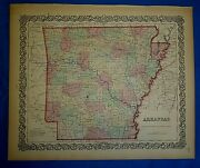 Vintage 1859 Coltonand039s Atlas Map Arkansas Old Antique And Authentic
