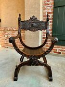 Antique French Carved Oak Curule Chair Arm Throne Renaissance Dagobert Lion Mask