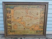 Antique Florida And The Caribbean Pirates Treasure Map - Extremely Rare