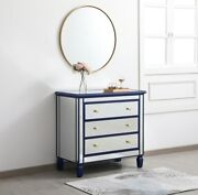 Blue And Mirrored Dresser Foyer Living Dining Room Bedroom 3 Drawer 33 Cabinet