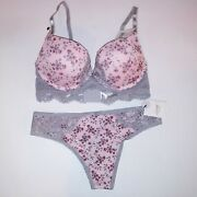 Spree Intimates Bra Set Pink Gray Floral Lace Trim Push Up Underwire New