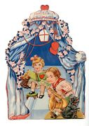 Large Vintage Valentines Mechanical Antique Postcard Girl/boy Playing Sax And Dog