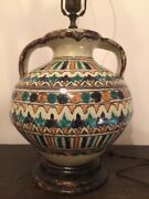 Antique Ceramic Table Lamp Hand Painted Mosaic Green Gold White Black Corded