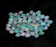 100 Natural Ethiopian Opal Faceted Fire Opal 6x8 Mm Oval Cut Loose Gemstone
