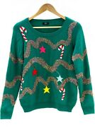 Womenand039s Ugly Christmas Sweater Green Led Light Up Red Candy Cane Christmas Tree