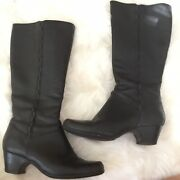 Clarks Artisan Women's Black Leather Cardy Knee High Boots Size 11m Moto, Riding