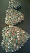 Big Antique 3 Nested Heart Shaped Tibetan Silver And Agate And Jade Trinket Boxes