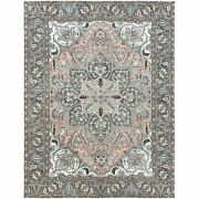 8and0393x10and03910 Semi Antique Flower Design Farsian Heris Handknotted Rug R60161