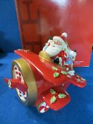 Fitz And Floyd Santa Plane Musical Wind Up We Wish You A Merry Christmas Rare Iob