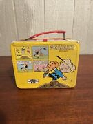 Vintage Snoopy Peanuts Metal Lunch Box Without Thermos